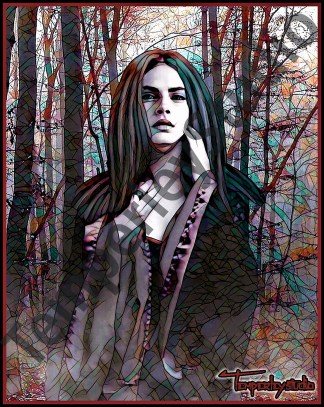 Mystical girl in the woods