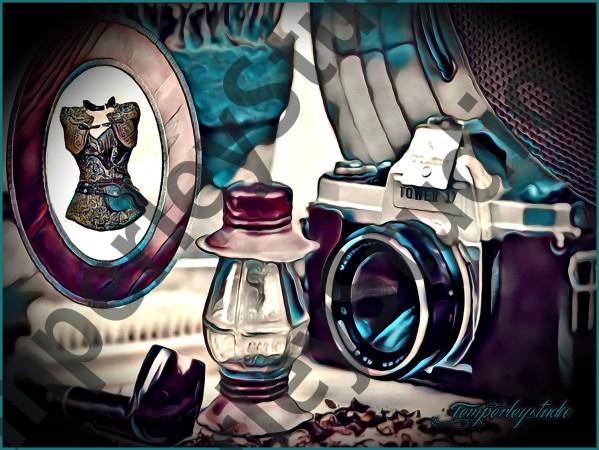 Gothic steampunk cameo corset and scene
