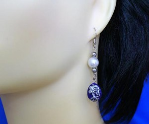 Gothic skeleton lady cameo and pearl earrings