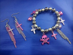 Punk Lolita metallic skull and cross set