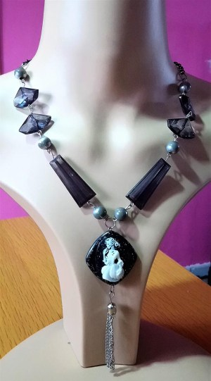 Skeleton lady cameo and bead necklace