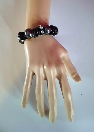 Gunmetal ball and jewel bracelet