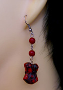 Burlesque red marble 3D corset earrings