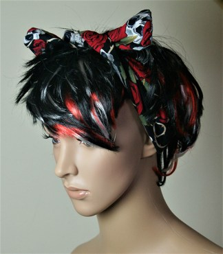 Rose and skull hair band