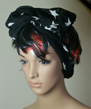 Black with white stars hair band