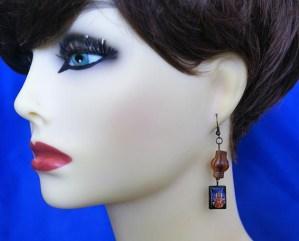 Ganesha and brown bead earrings