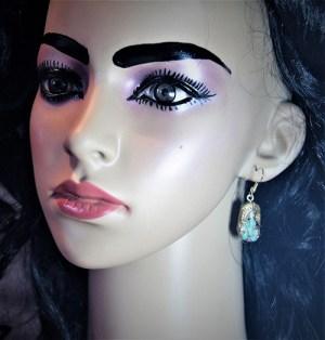 Krishna and flute 3D cameo earrings