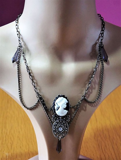 Victorian Lolita lady and filigree twin cameo drop bead necklace
