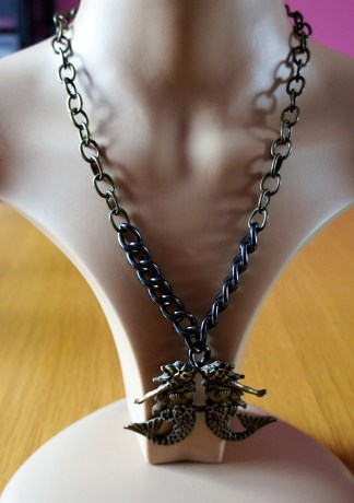Twin mermaid and chunky chain necklace