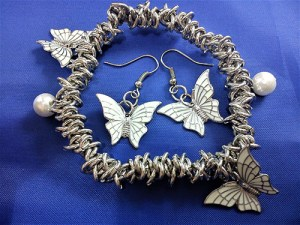 White Lolita fantasy butterfly bracelet and earring set
