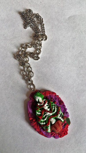 Christmas skeleton lady tree cameo necklace