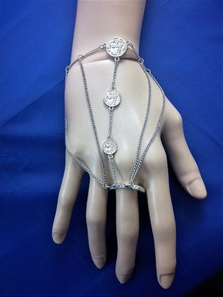 Silver coin bracelet and ring