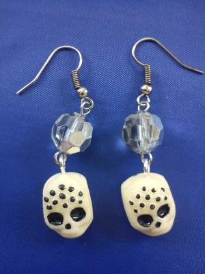 Skull and crystal (glow in dark) earrings