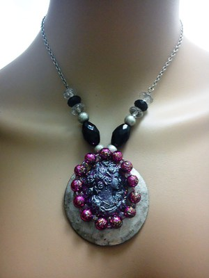 Pink and silver shimmer cameo lady and bead necklace