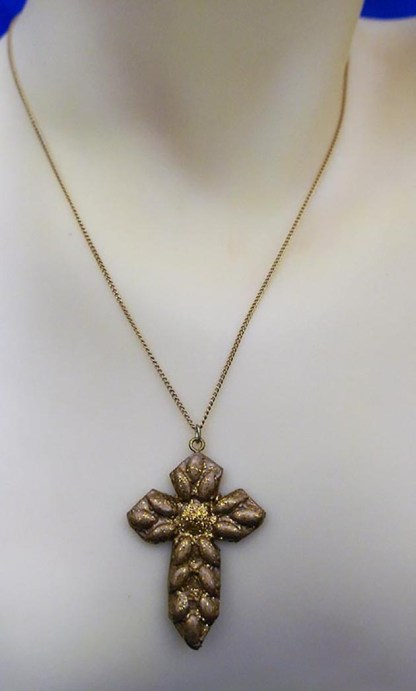 Gold 3D weave cross necklace