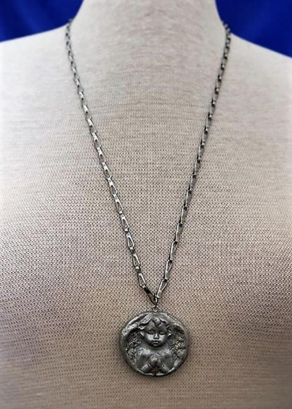Silver angel praying cameo necklace