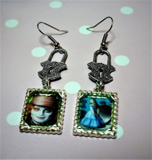 Alice and hatter cameo and locket earrings