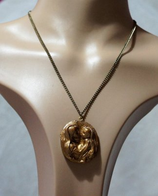 Mary and baby Jesus gold cameo necklace
