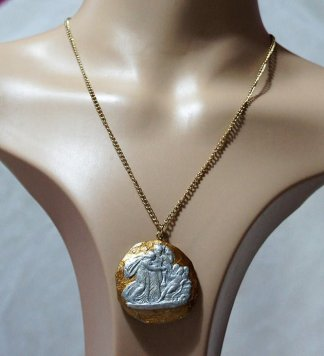 Gold and silver angel collection cameo necklace