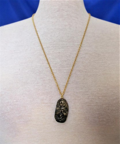 Gold and black 3D praying girl pendant necklace