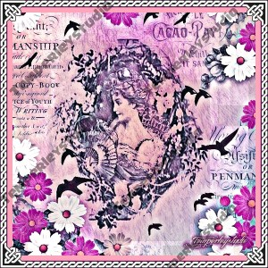 Shabby chic lady cameo in bird and flower theme (pink)