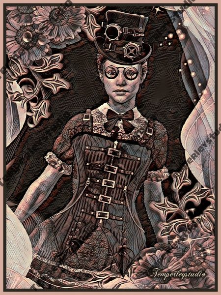 Steampunk corset and hat girl