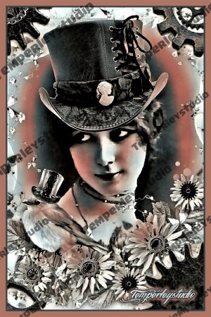 Steampunk lady flower and bird