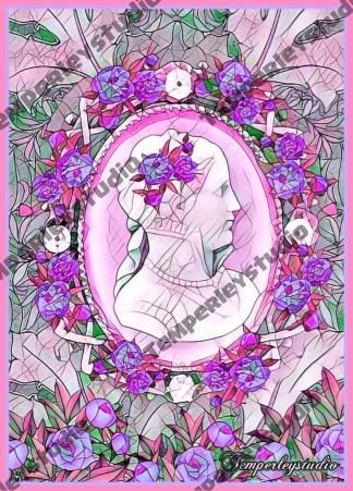 Georgian rose lady cameo in pink