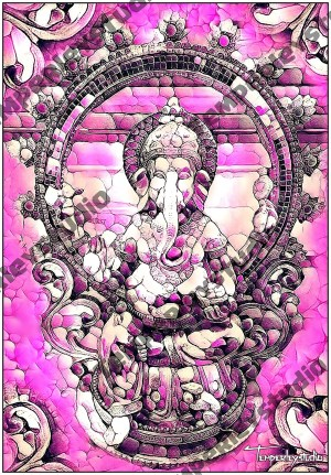 Ganesha statue in a marble pink effect