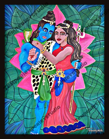 Shiva and Pavarti in a devotional pose