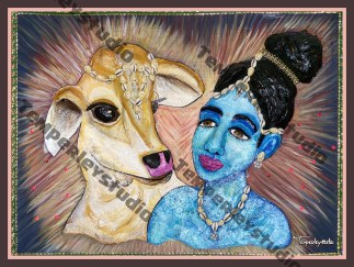 Krishna and Nandi in 3D