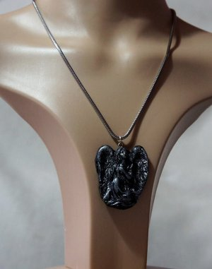 Gothic Lolita black and silver 3D angel necklace