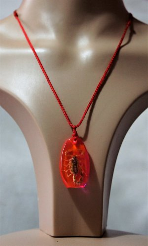 Real scorpion (red) pendant necklace (unisex)