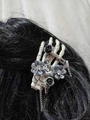 Gothic Steampunk rose and flower skeleton hand hair clip