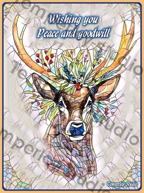 Stag Reindeer in stained glass Christmas card