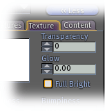 Transparency, glow, and full-bright in the Build dialog