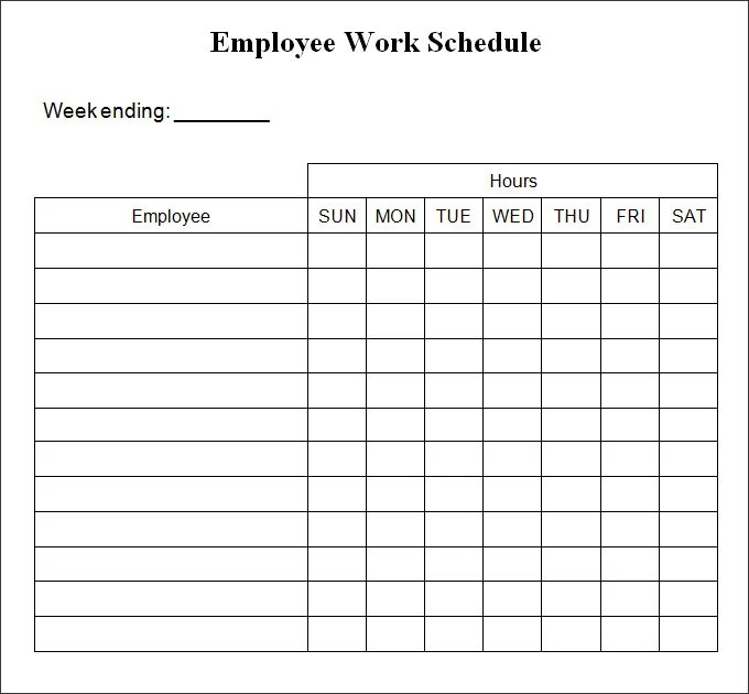 weekly work schedule template