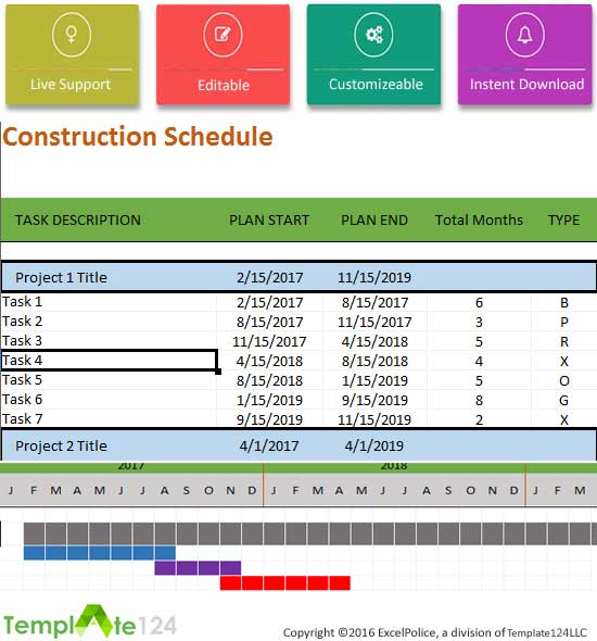 Is one of the best ways to schedule templates in microsoft excel format. Construction Schedule Template Excel For Project Management Template124
