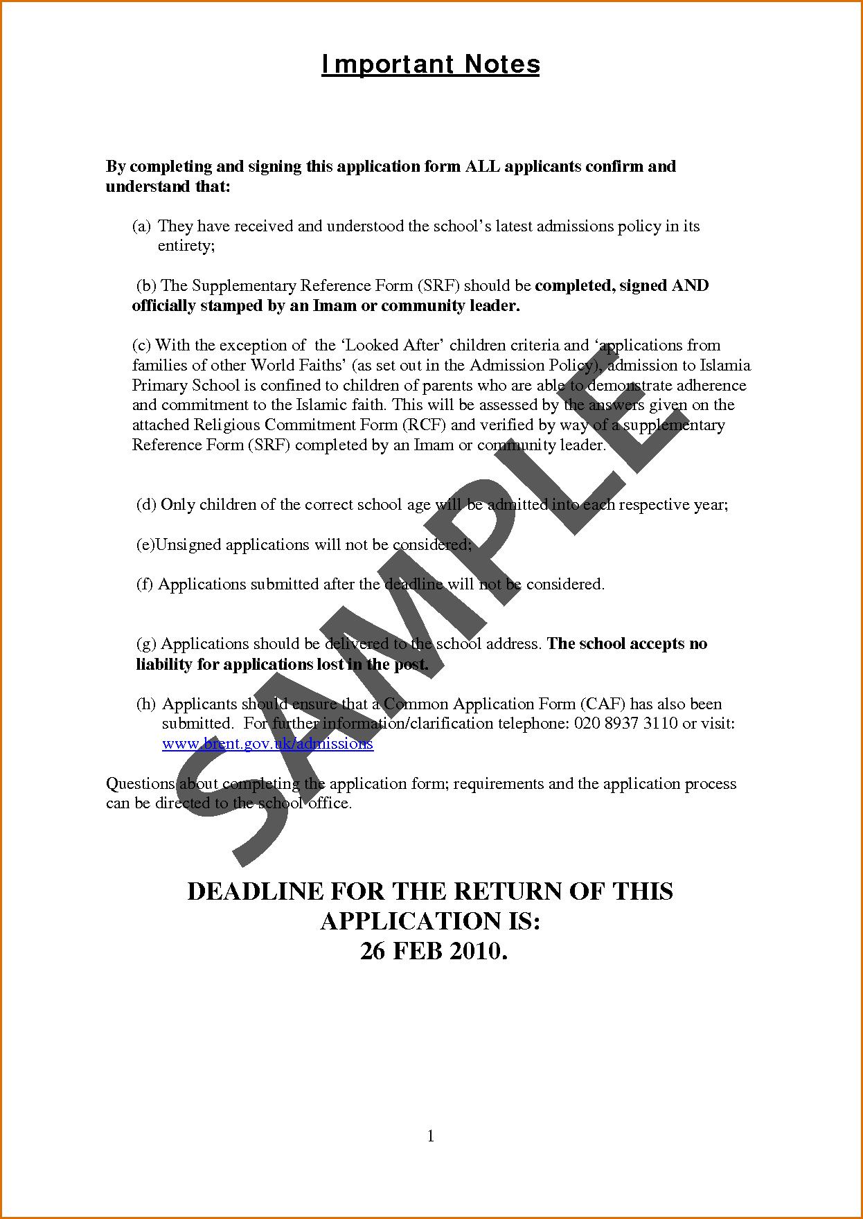 Application Letter For School