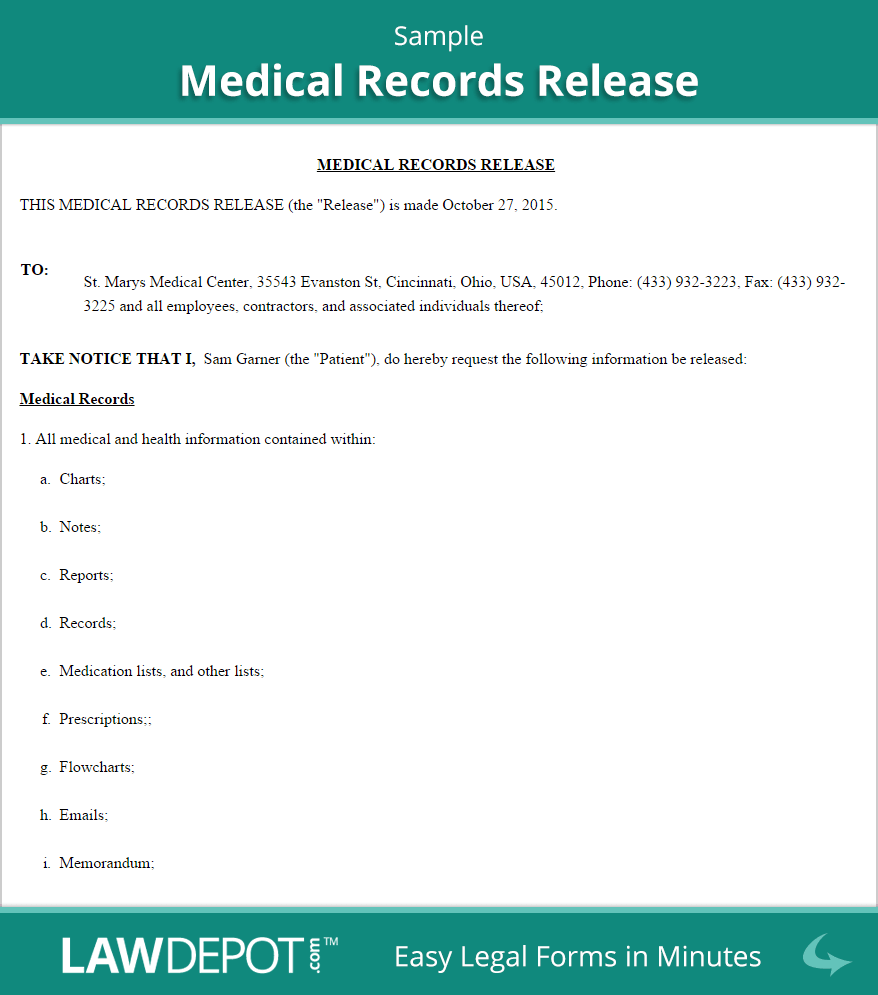 medical record release form sample
