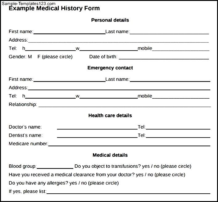 Sample Medical History Form - sarahepps.com -
