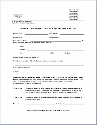 Medical Consent Form Template Ms Word