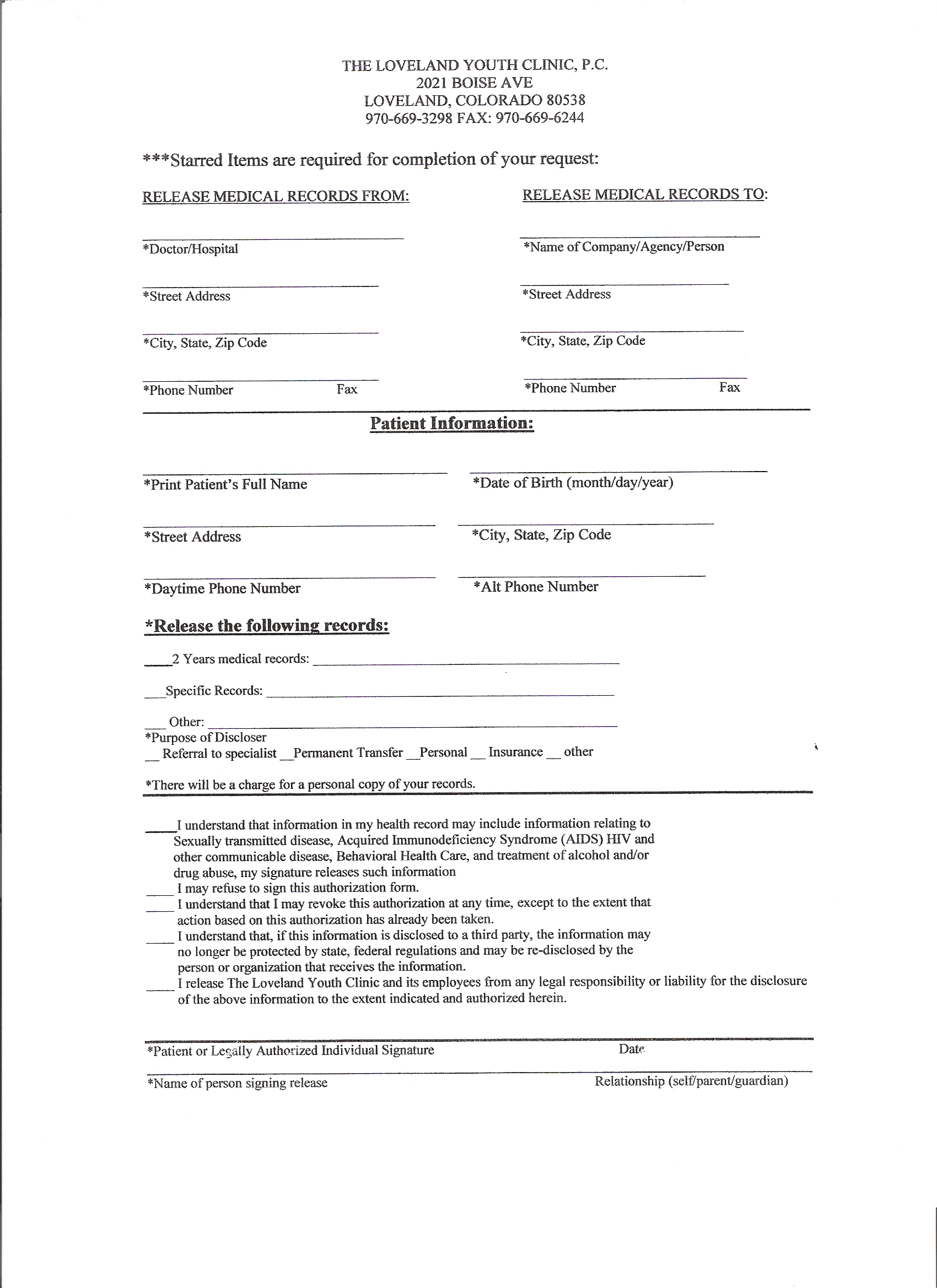 release of records form template