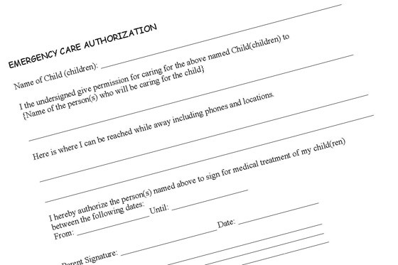 Medical Release Form For Child While Parents Out Town