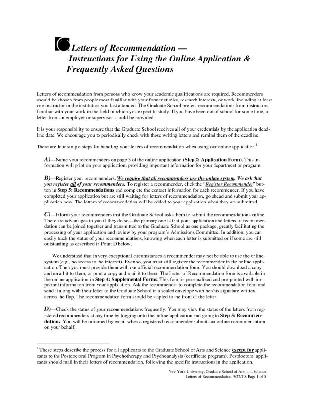 Recommendation Letter Graduate School