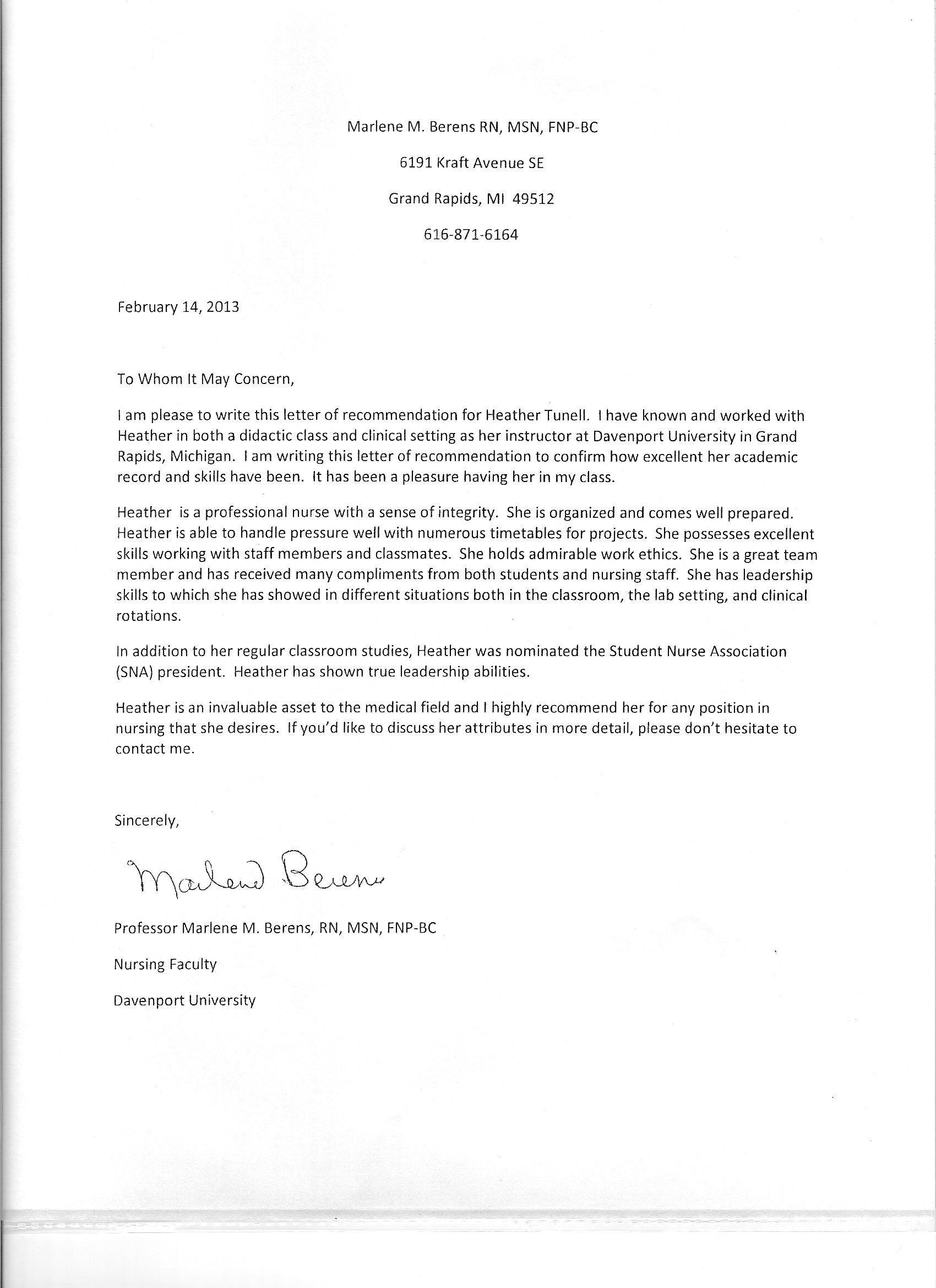 professional recommendation letter for nursing school