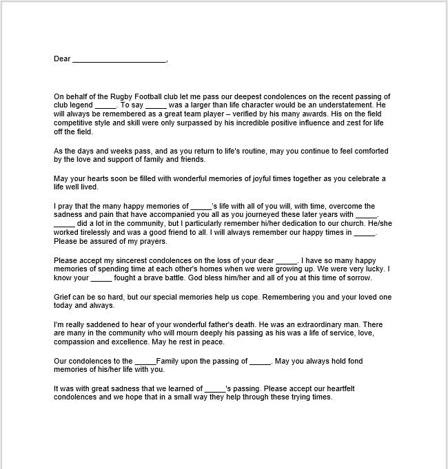 57 Free Sympathy Letters Message Wording TemplateHub – Sympathy Letter Sample