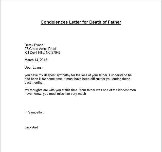 57 Free Sympathy Letters Message Wording TemplateHub – Sample of Sympathy Letter