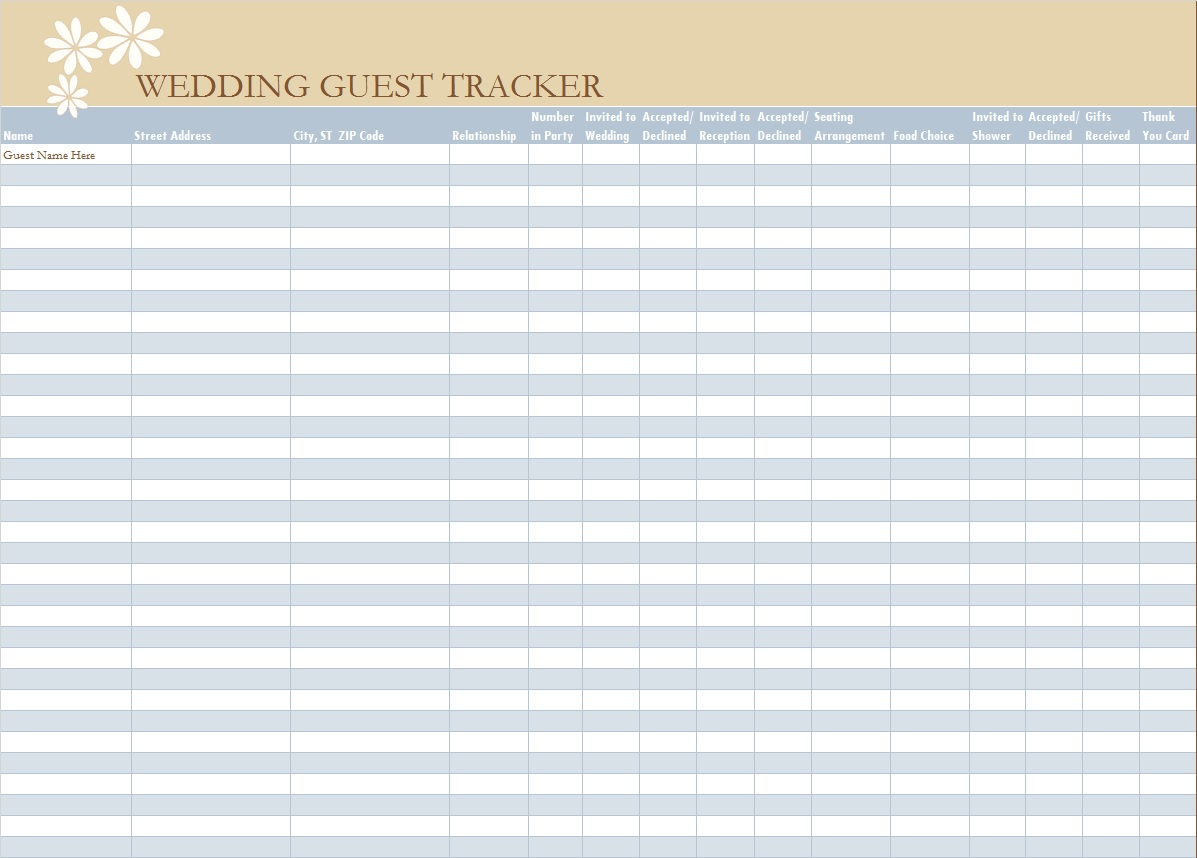 Guest List Spreadsheet Template