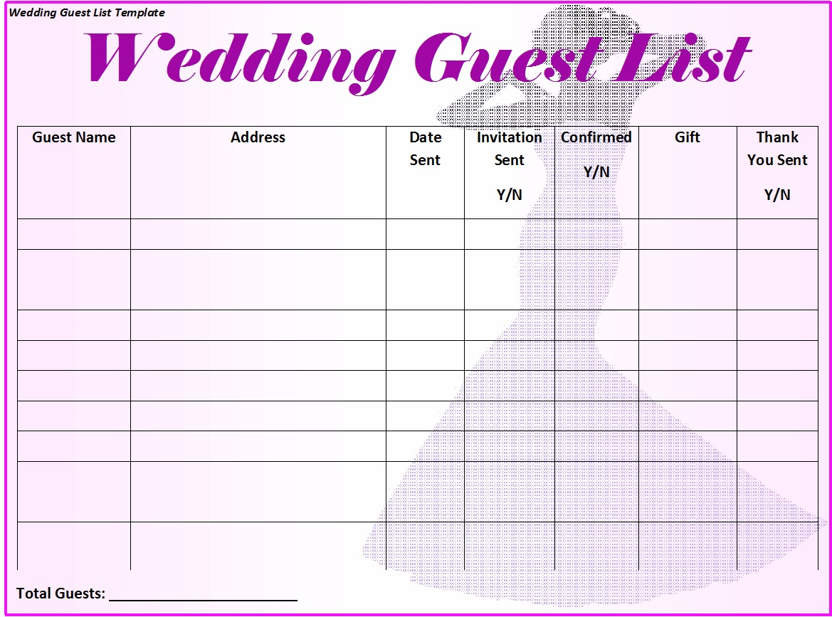 30 Free Wedding Guest List Templates